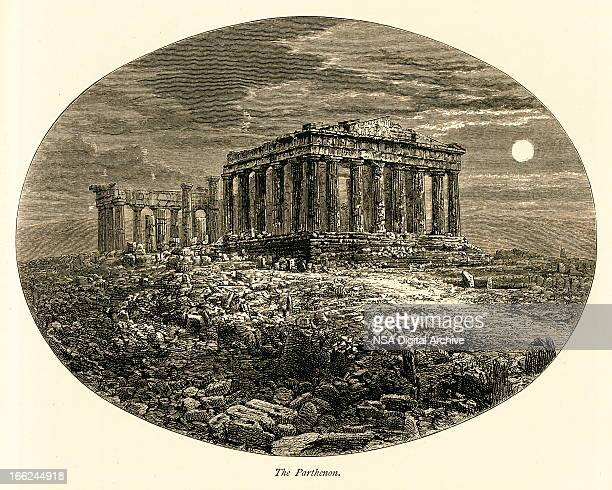 the parthenon, athens, greece (antique wood engraving) - ancient greece stock illustrations