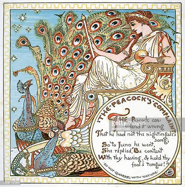 the peacocks complaint - goddess stock illustrations, clip art, cartoons, & icons