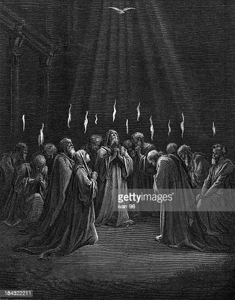 the pentecost - spirituality stock illustrations