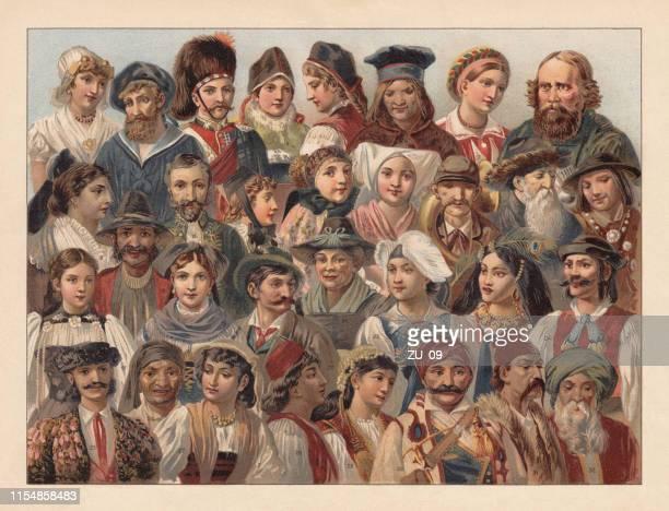 ilustrações, clipart, desenhos animados e ícones de os povos da europa, cromolitografia, publicado em 1895 - sérvia