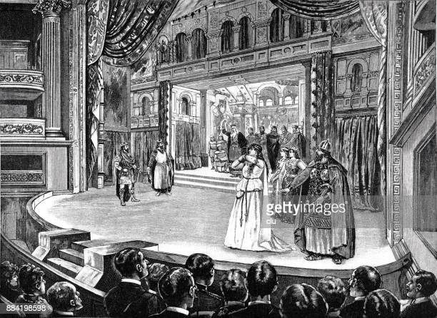 the performance of king lear on the new shakespeare stage at the royal court theatre in munich - actor stock illustrations