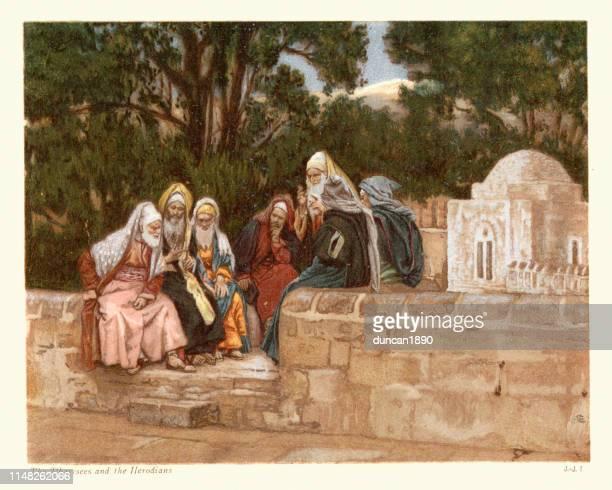 die pharisäer und die hirten - james tissot stock-grafiken, -clipart, -cartoons und -symbole