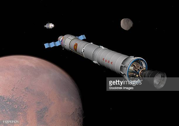 the phobos mission rocket prepares for approach to the martian moon. - space mission stock illustrations