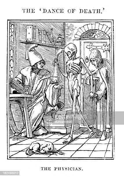 the physician - dance of death - 16th century style stock illustrations