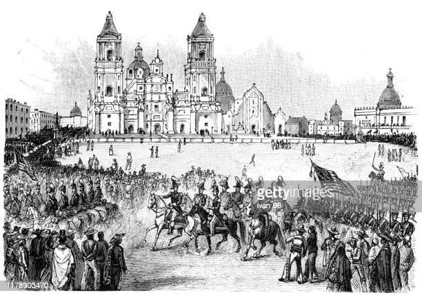 the piaza of the city of mexico - revolution stock illustrations