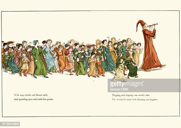The Pied Piper leading the children away