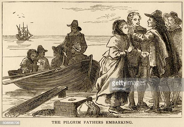 the pilgrim fathers embarking on their journey to america - disembarking stock illustrations