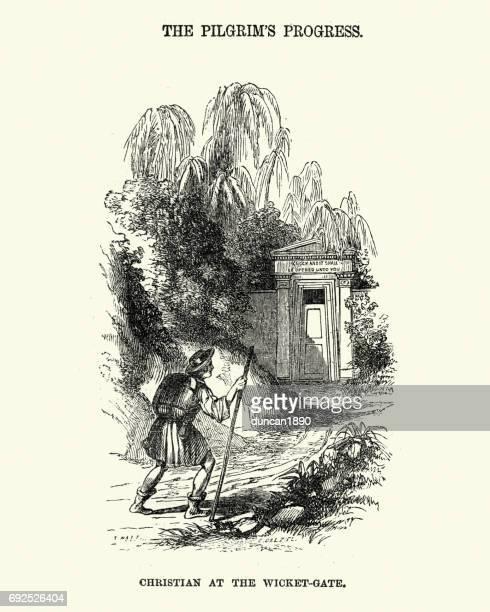 ilustraciones, imágenes clip art, dibujos animados e iconos de stock de progreso del peregrino - cristiano en la puerta del wicket - peregrino