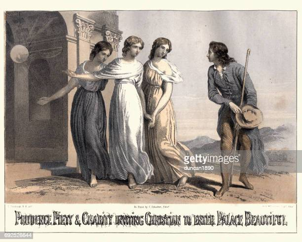 The Pilgrim's Progress - Prudence Piety and Charity Palace Beautiful
