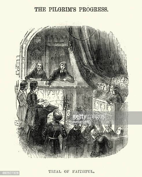 the pilgrim's progress - trail of faithful - jury entertainment stock illustrations