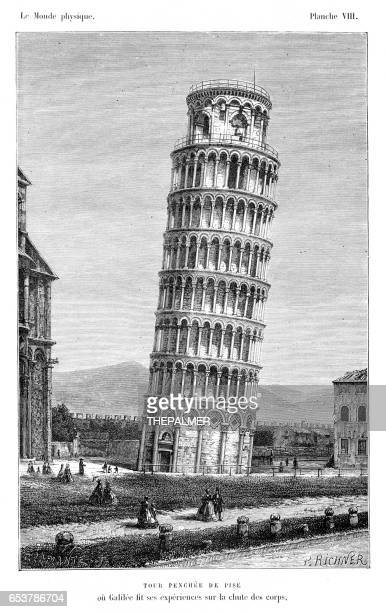 the pisa tower engraving 1881 - leaning tower of pisa stock illustrations, clip art, cartoons, & icons