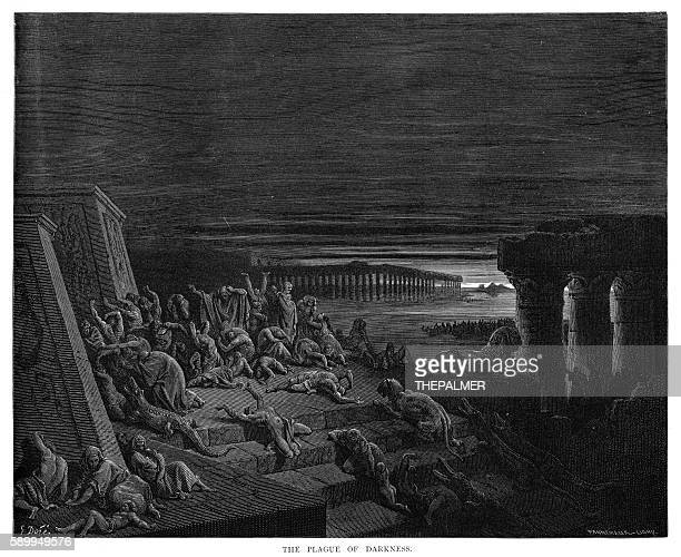 The plague of darkness engraving 1870