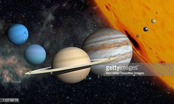 ilustraciones, imágenes clip art, dibujos animados e iconos de stock de the planets and larger moons to scale with the sun. - sistema solar