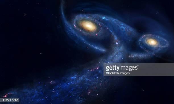 ilustraciones, imágenes clip art, dibujos animados e iconos de stock de the predicted collision between the andromeda galaxy and the milky way. - galaxiaespiral