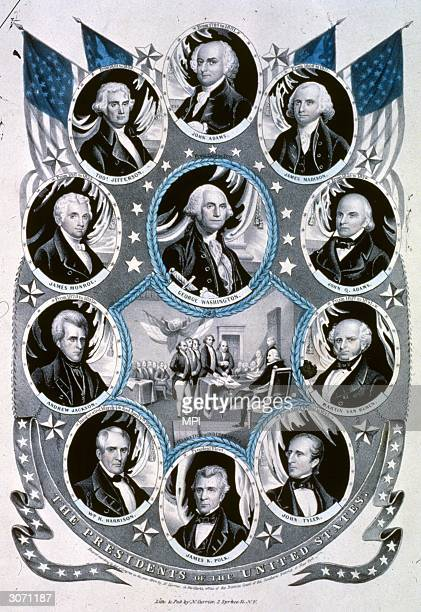 The Presidents of the United States, from George Washington through John Adams, James Madison, John Quincy Adams, Martin Van Buren, James Tyler,...