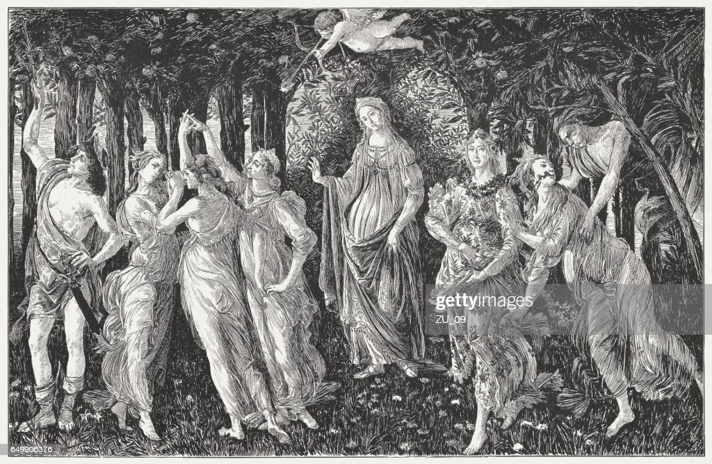 The Primavera, painted by Sandro Botticelli, wood engraving, published 1884 : stock illustration