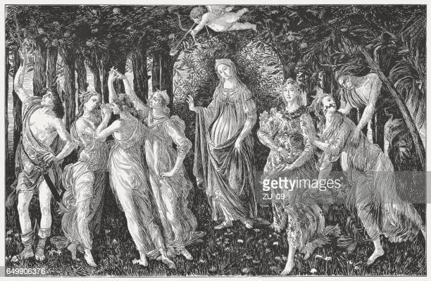 the primavera, painted by sandro botticelli, wood engraving, published 1884 - greek gods stock illustrations, clip art, cartoons, & icons