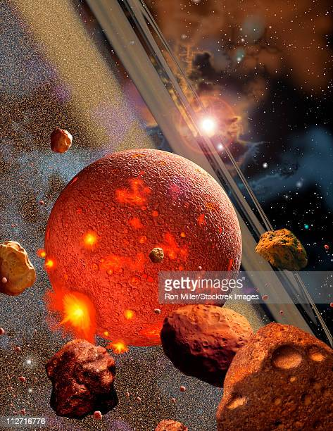 the primordial earth during the time it was being formed by the accretion of millions of asteroid-like bodies - molten stock illustrations, clip art, cartoons, & icons