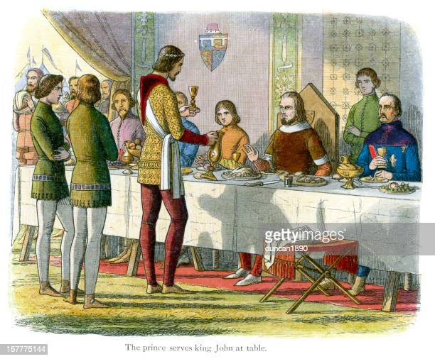 the prince serves king john at table - circa 14th century stock illustrations, clip art, cartoons, & icons