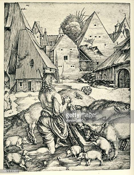 the prodigal son - pigs trough stock illustrations
