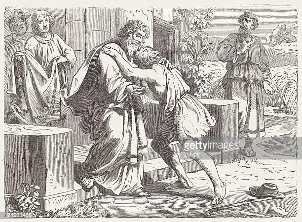The Prodigal Son (Luke, 15, 20-21) wood engraving, publshed 1877