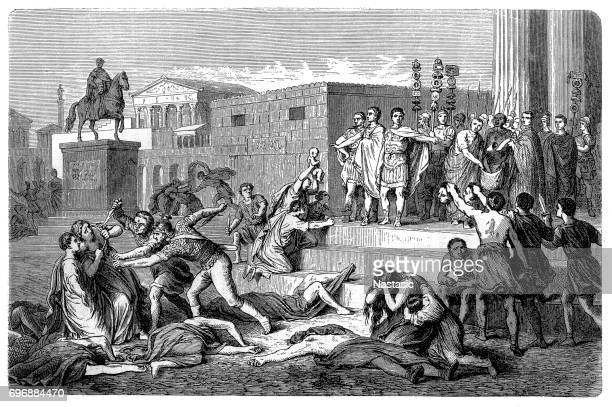 the proscription of 43 b.c of the triumvirn - ancient civilization stock illustrations, clip art, cartoons, & icons