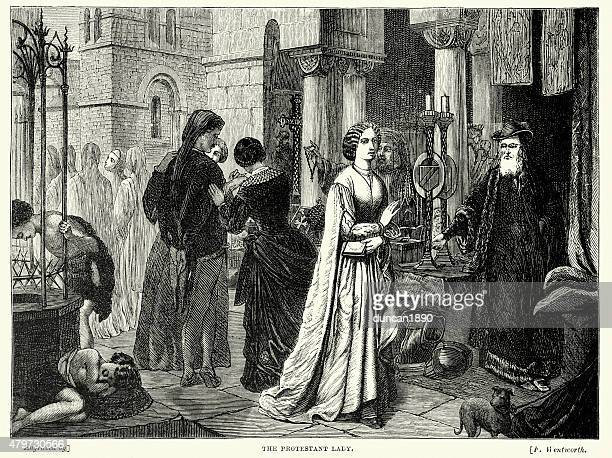 the protestant lady - protestantism stock illustrations, clip art, cartoons, & icons