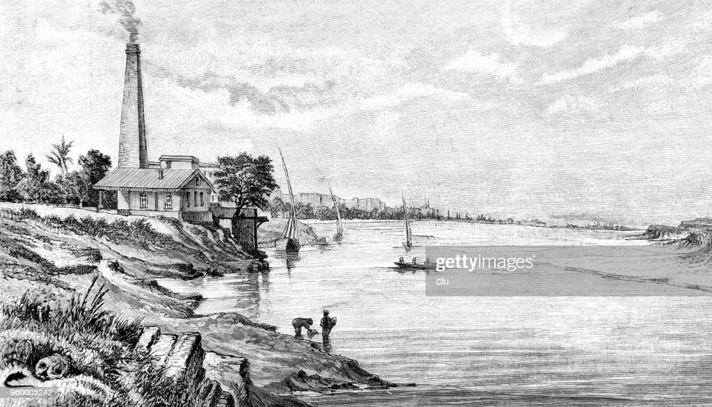 The pumping station of Schubra near Cairo : Stock Illustration