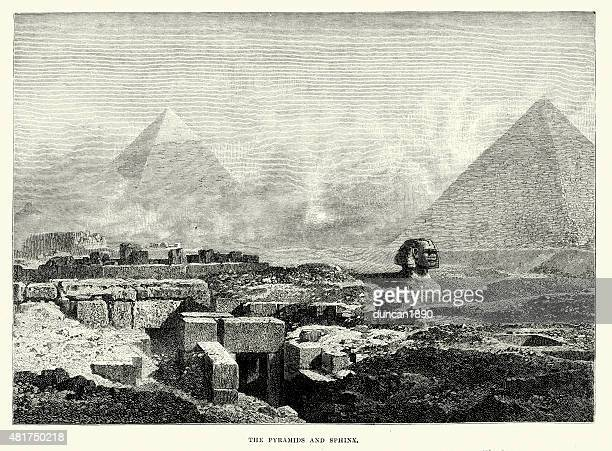 the pyramids and sphinx - ancient egyptian culture stock illustrations