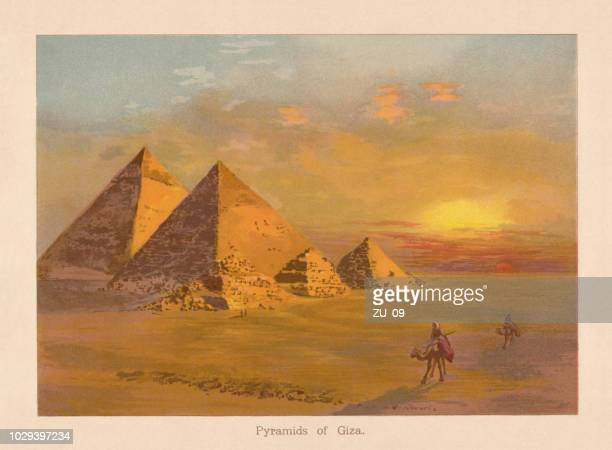 the pyramids of giza in egypt, chromolithograph, published in 1888 - ancient egyptian culture stock illustrations