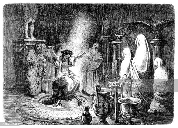 the pythia foretells the oracle of delphi - ancient greece stock illustrations, clip art, cartoons, & icons