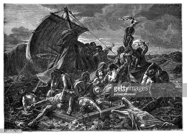 the raft of the medusa by theodore gericault - 19th century - medusa stock illustrations