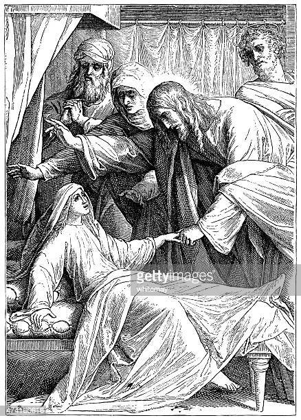 the raising up of jairus' daughter by jesus (victorian engraving) - dead girl stock illustrations