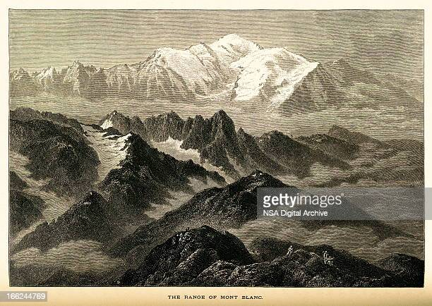 the range of mont blanc, high alps (antique wood engraving) - mont blanc stock illustrations, clip art, cartoons, & icons