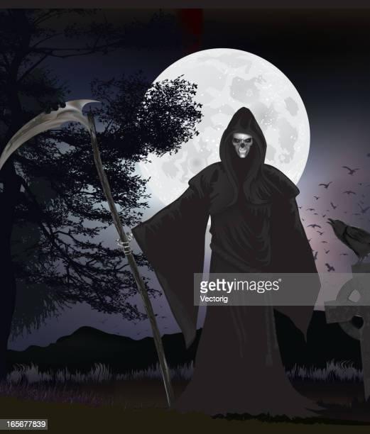 ilustraciones, imágenes clip art, dibujos animados e iconos de stock de el reaper y crow - la muerte