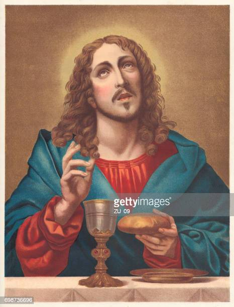 the redeemer, chromolithograph, published in 1886 - jesus christ stock illustrations, clip art, cartoons, & icons