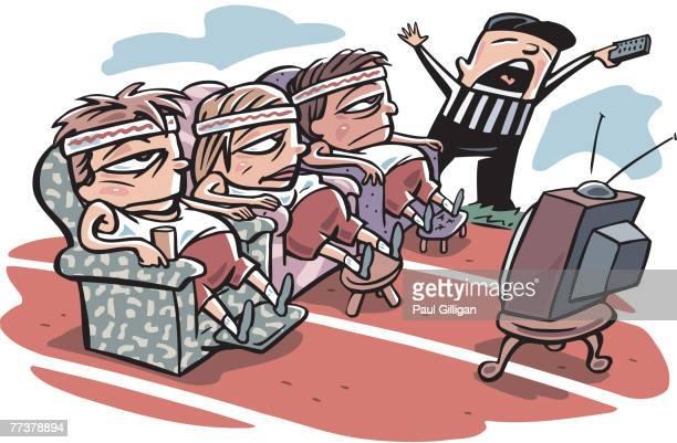 ilustraciones, imágenes clip art, dibujos animados e iconos de stock de the referee calling the start of the couch potato race - educacion fisica