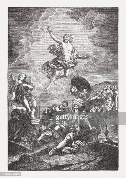 die auferstehung jesu, holzstich, veröffentlicht 1850 - jesus resurrection stock-grafiken, -clipart, -cartoons und -symbole