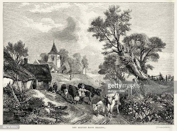 the return from milking the cows, 19th century - milking stock illustrations, clip art, cartoons, & icons