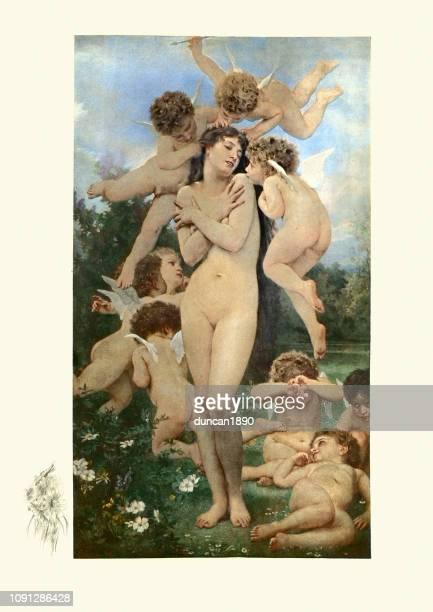 ilustraciones, imágenes clip art, dibujos animados e iconos de stock de el retorno de la primavera (le printemps) - mujer desnuda