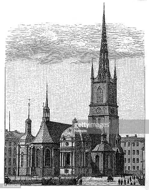 ilustraciones, imágenes clip art, dibujos animados e iconos de stock de la iglesia de riddarholmen - iglesia de riddarholmen