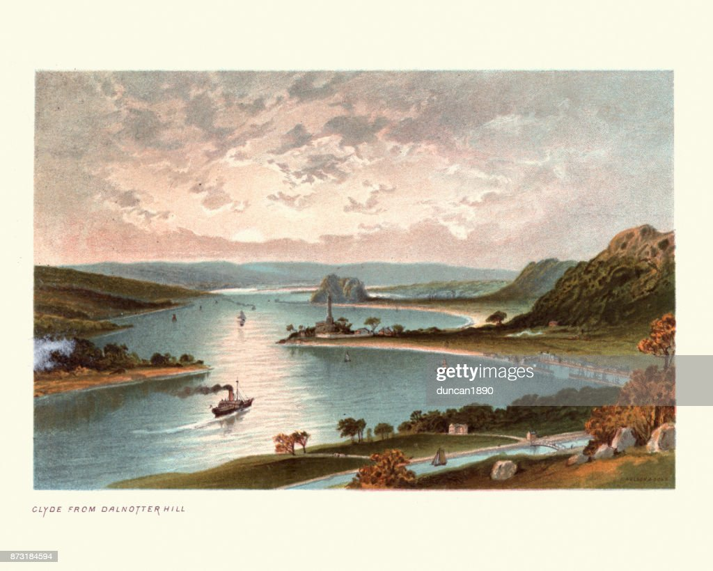 The River Clyde from Dalnotter Hill, Scotland, 19th Century : Stock Illustration