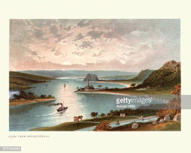 the river clyde from dalnotter hill, scotland, 19th century - clyde river stock illustrations, clip art, cartoons, & icons