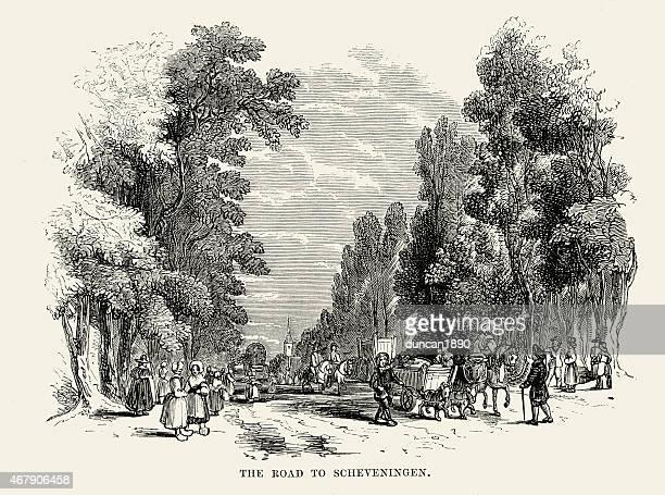 道路を scheveningen 、オランダ、19 世紀の - スヘフェニンゲン点のイラスト素材/クリップアート素材/マンガ素材/アイコン素材