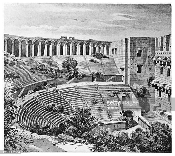 the roman theater in aspendos, turkey - epidaurus stock illustrations