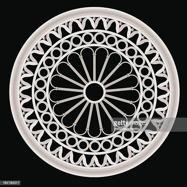 the rose window - gothic style stock illustrations, clip art, cartoons, & icons
