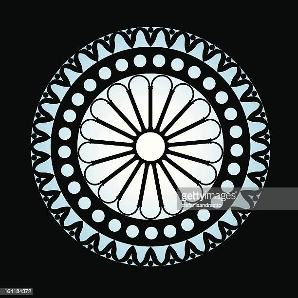 the rose window in negative - corinthian stock illustrations, clip art, cartoons, & icons