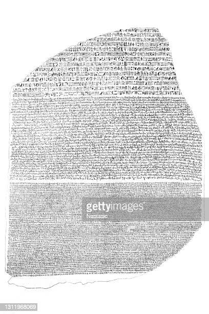 the rosetta stone is a granodiorite stele inscribed with three versions of a decree issued in memphis, egypt in 196 bc during the ptolemaic dynasty on behalf of king ptolemy v epiphanes - archaeology stock illustrations