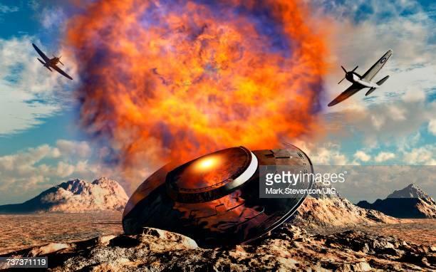 ilustrações, clipart, desenhos animados e ícones de the roswell ufo crash - fake news