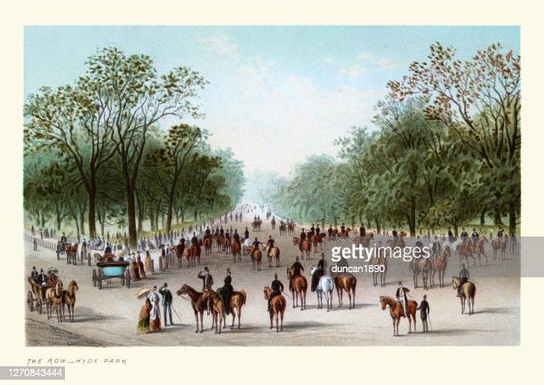 the row, hyde park, riding horses, victorian london, 19th century - british culture stock illustrations